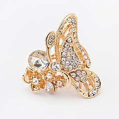 Women European Style Fashion Cute Shiny Rhinestone Butterfly Statement Ring