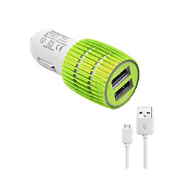 Universal LED Dual USB Car Charger with Sync and Charge Cable for Samsung S7/6/5/4 Huawei Xiaomi LG SONY NOKIA and Other Cellphones(5V  2.1A)