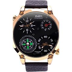 Oulm Miesten Armeijakello Rannekello Ainutlaatuinen Creative Watch Quartz Compass Lämpömittari Kaksois-aikavyöhyke Aito nahka Bändi