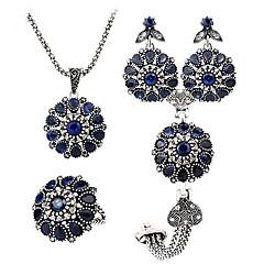 Smycken Set Smycken Safir Bohemstil Personlig lyxiga smycken Europeisk Ädelsten Blå Dekorativa Halsband Örhängen Ringar Armband För