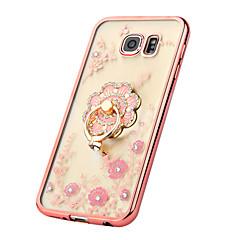Mert Samsung Galaxy S7 Edge Strassz / Galvanizálás / Tartó gyűrű / Átlátszó / Minta Case Hátlap Case Virág TPU SamsungS7 edge / S7 / S6