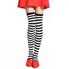 Socks/Stockings Punk Lolita Over Knee Socks White / Black Lolita Accessories Stockings Striped For Women Cotton