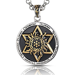 Men's Punk Style Pendant Charm Necklace 316L Stainless Steel Retro Carving Six-pointed Star Jewelry