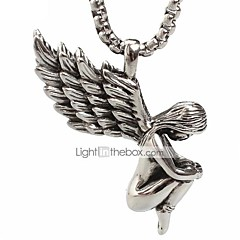 Punk Style Pendant Charm Necklace 316L Stainless Steel Retro Angel Wings Shape Men And Women Jewelry