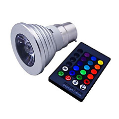 AC85-285V 3W E14 / GU10 / E26/E27 / B22 LED Spotlight MR16 1 High Power LED 110 lm RGB Dimmable / Remote-Controlled / Decorative V 1 pcs