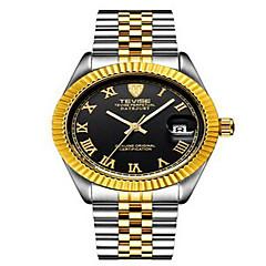 Tevise Heren Dames Voor Stel Modieus horloge mechanische horloges Kalender Waterbestendig Lichtgevend Kwarts Roestvrij staal BandVintage