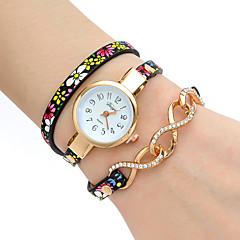 Dames Modieus horloge Polshorloge Armbandhorloge Kwarts Kleurrijk PU BandVintage Bloem Bohémien Bedeltjes Bangle armband Cool
