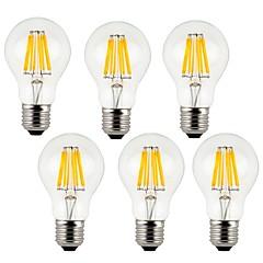 8W E26/E27 LED Filament Bulbs A60(A19) 8 COB 800 lm Warm White / Cool White Decorative AC 220-240 V 6 pcs