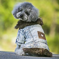 Hunde Frakker Denimjakker Hundetøj Cowboy Mode Hold Varm Jeans Sort Blå
