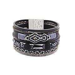Fashion Women Multi Rows Seedbeads Leather Wrap Bracelet