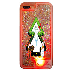For iPhone 7 7 Plus 6s 6 Plus Christmas Tree Colourful LED Flash Lighting Flowing Liquid Translucent Case PC Back Cover Case with TPU Frame