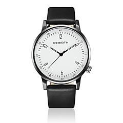 REBIRTH יוניסקס שעוני אופנה שעון יד קווארץ / עור להקה יום יומי שחור לבן לבן שחור שחור/כסוף