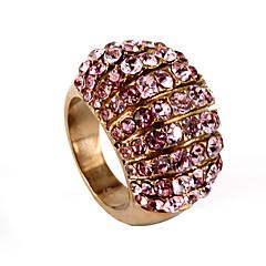 Férfi Női Páros Gyűrű Kocka cirkónia luxus ékszer jelmez ékszerek Rozsdamentes acél Strassz Ékszerek Kompatibilitás Esküvő Parti