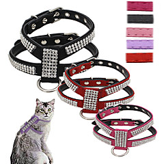 Katte / Hunde Seler / Hundesnore Justérbar/Udtrækkelig / Pailletter / Vest Mosaik / Rhinsten Rød / Sort / Pink / Lilla / Rose PU Læder