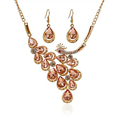 Jewelry 1 Necklace 1 Pair of Earrings Rhinestone Imitation Diamond Party Daily Alloy Gem 1set Women White Champagne Wedding Gifts