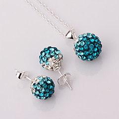Lucky Doll Jewelry Set 1 Necklace 1 Pair of Earrings Party Daily Cubic Zirconia Copper Silver Plated 1set Women Silver Wedding Gifts
