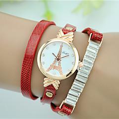 Dames Armbandhorloge Gesimuleerd Diamant Horloge Kwarts imitatie Diamond Leer Band Eiffeltoren Zwart Wit Rood Bruin Groen GeelGeel Bruin