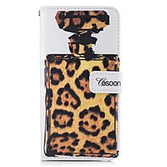 For Pung Kortholder Med stativ Flip Etui Heldækkende Etui Leopardmønster Hårdt Kunstlæder for AppleiPhone 7 Plus iPhone 7 iPhone 6s