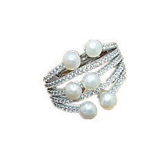 Women's Ring Imitation Pearl AAA Cubic Zirconia Luxury Silver Pearl Imitation Pearl Zircon Jewelry For Daily Casual