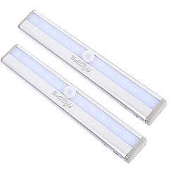 YouOKLight 2pcs Motion Sensing 10-LED Warm White/Cold white Light Night Lamp - Silver