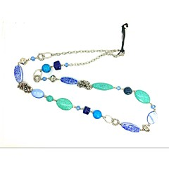 Women's Strands Necklaces Crystal Ceramic Glass Alloy Oval Tube Flower Fashion Euramerican Blue LED Jewelry Party Daily Casual 1pc