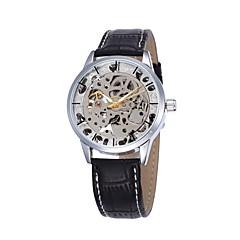 Heren Sporthorloge Modieus horloge Polshorloge mechanische horloges Automatisch opwindmechanisme Hol Gegraveerd Echt leer Band
