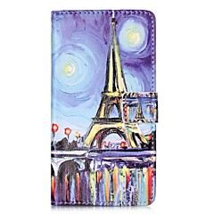 Mert Pénztárca Kártyatartó Állvánnyal Flip Minta Mágneses Case Teljes védelem Case Eiffel torony Kemény Műbőr mert HuaweiHuawei P9 Huawei