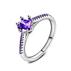 Ringen Bruiloft Feest Speciale gelegenheden Dagelijks Causaal Sieraden Zirkonia Bandringen Ring Verlovingsring 1 stuks,6 7 8 9 10 Paars