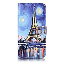 For Pung Kortholder Med stativ Flip Etui Heldækkende Etui Eiffeltårnet Hårdt Kunstlæder for AppleiPhone 7 Plus iPhone 7 iPhone 6s Plus/6