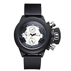 ASJ Herren Unisex Sportuhr Modeuhr Armbanduhr Japanisch Quartz Wasserdicht Silikon Band Bettelarmband Cool Bequem Schwarz Weiß