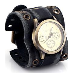 Herren Damen Modeuhr Armbanduhr Quartz / Leder Band Bequem Schwarz Gold Schwarz
