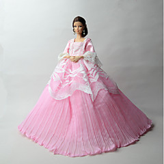 Princess Dresses For Barbie Doll Pink Solid Dresses For Girl's Doll Toy