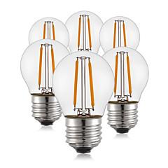 2W E26/E27 Lâmpadas de Filamento de LED G45 2 COB 200 lm Branco Quente Decorativa AC 220-240 V 6 pçs