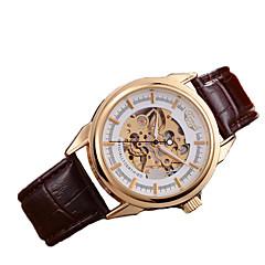 Hombre Reloj Esqueleto El reloj mecánico Cuerda Automática Cuero Auténtico Banda Marrón Marca