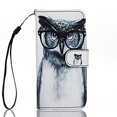 Mert Kártyatartó Pénztárca Állvánnyal Flip Minta Case Teljes védelem Case Bagoly Kemény Műbőr mert AppleiPhone 7 Plus iPhone 7 iPhone 6s