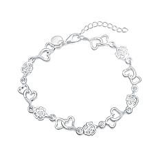 Damskie Bransoletki z breloczkami Posrebrzany Modny Heart Shape Silver Biżuteria 1szt