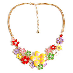 Women's Pendant Necklaces Jewelry Gemstone Alloy Jewelry Unique Design Flower Style Fashion Adorable Euramerican Rainbow JewelryParty