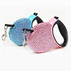 Dog Leash Adjustable/Retractable Automatic Rhinestone Blue Pink Plastic