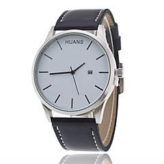 Men's Fashion Watch Quartz Genuine Leather Band Charm Casual Black White Brown