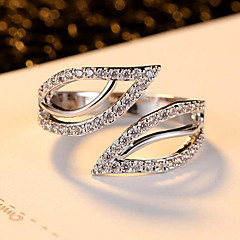 Ring Zircon Cubic Zirconia Alloy Leaf Euramerican Fashion White Jewelry Party Daily Casual 1pc
