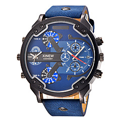 Men's Sport Watch Military Watch Fashion Watch Wrist watch Quartz Calendar Dual Time Zones Punk Large Dial Leather BandVintage Charm Cool