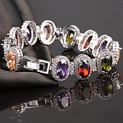 Dames Armbanden met ketting en sluiting Natuur Modieus Luxe Sieraden Kleurrijk Europees Kristal Zirkonia Kubieke Zirkonia LegeringRonde