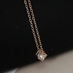 Damskie Naszyjniki z wisiorkami Square Shape Kryształ górski sztuczna Diament Stop Modny Gold Silver Biżuteria Na Casual 1szt