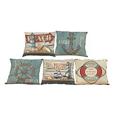 5 szt Bielizna Naturalne / ekologiczne Pokrywa Pillow Poszewka na poduszkę,Kwiatowy Stały Textured PledPrzypadkowy Retro Tradycyjny /