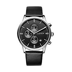 Men's Dress Watch Wrist watch Calendar Water Resistant / Water Proof Stopwatch Large Dial Quartz Genuine Leather Band Cool CasualBlack