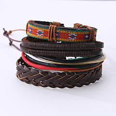 The New Vintage Cowhide Ancient Hand Woven Bracelet Cortical Layers Hand Rope Men's Bracelet Adjustable Size046