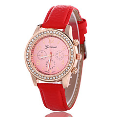 Women's Fashion Watch Simulated Diamond Watch Quartz Rose Gold Plated Leather Band Casual Black White Red