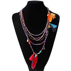 Women's Statement Necklaces Feather Alloy Unique Design Bohemian Jewelry For Party Daily Casual 1pc