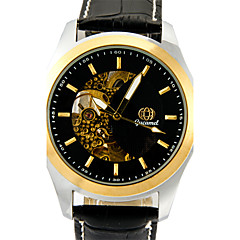 Men's Fashion Watch Quartz Leather Band Casual Black