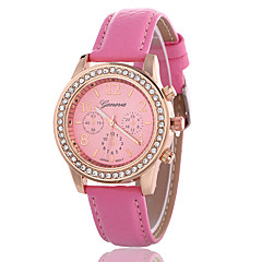 Women's Fashion Watch Simulated Diamond Watch Quartz Rose Gold Plated Leather Band Casual Blue Pink